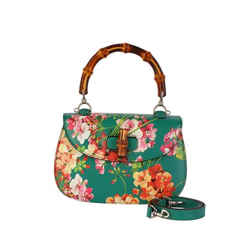 Promo Gucci Bambo 296 gucci bamboo leather classic blooms top handle bag emerald green luxity