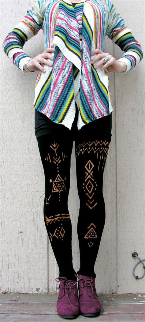 37136 Cln Streach Tribal Cln Legging Streach Streach L Besar tribal inspiration 80 denier black tights