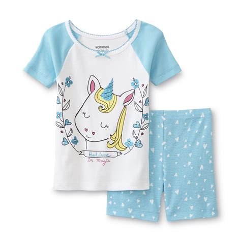 Set Piyama Unicorn wonderkids infant toddler s tight fit pajama t shirt shorts unicorn kmart