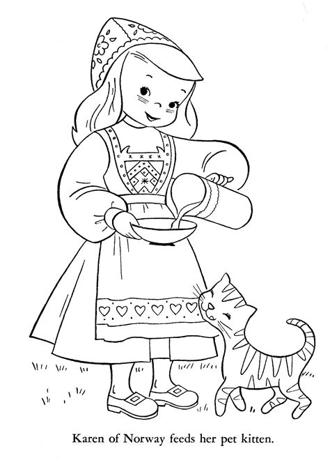 norway christmas coloring page children of other lands 1954 belgium spain portugal
