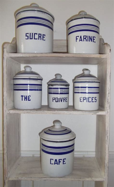 antique french enamelware kitchen canisters vintage french