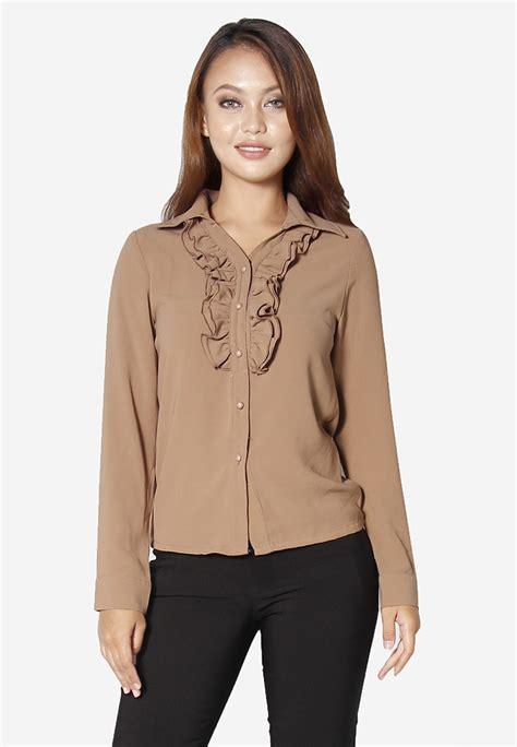 Blouse Polos Moslem Lengan Rimple Ruffle ev fashion sleeves ruffle shirt brown