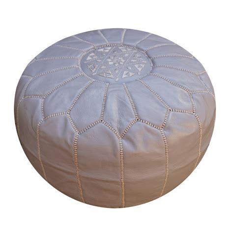 Gray Moroccan Leather Pouf Pouffe Ottoman Footstool Moroccan Leather Ottoman