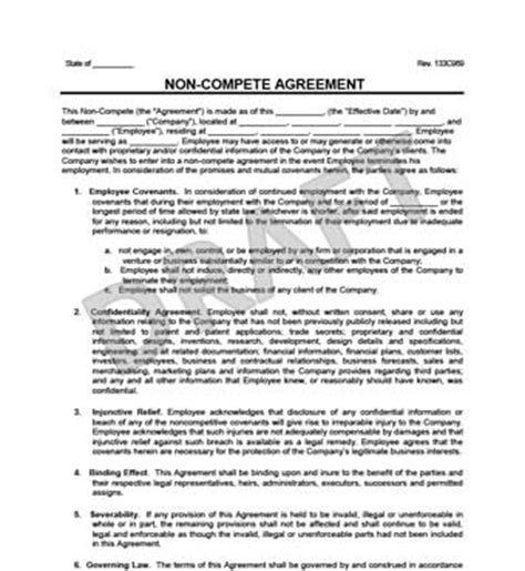 Non Compete Agreement Create A Non Compete Agreement Template Non Compete Agreement Template