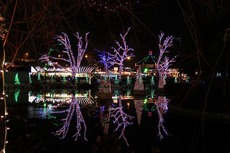 holiday lights reflection in water lagoon kennywood
