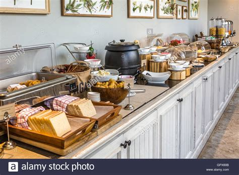 brunch setup breakfast buffet setup in hotel in hdr stock photo