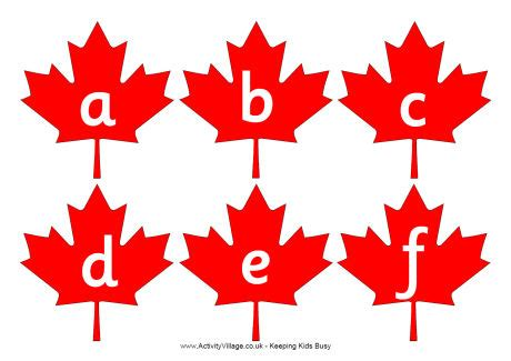 printable leaves with letters maple leaf alphabet to print