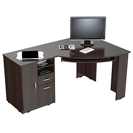 Inval Corner Computer Desk Espresso Wengue By Office Depot Corner Computer Desk Office Depot
