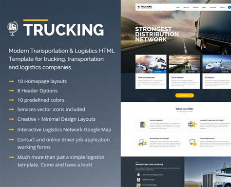 Trucking Transportation And Logistics Psd Template Psd Templates Logistics Website Template