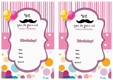 printable girl birthday decorations mustache birthday invitations birthday printable