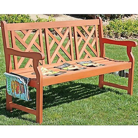 all weather bench vifah eucalyptus all weather bench bed bath beyond