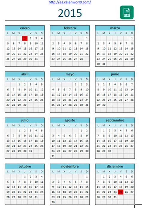 Calendario Por Semanas 2015 Excel Calendario 2015 En Excel Plantilla De Calendario 2015 Excel