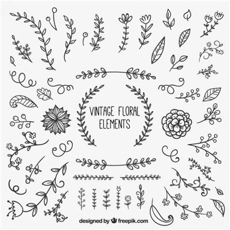 free vector doodle elements vintage floral elements vector free