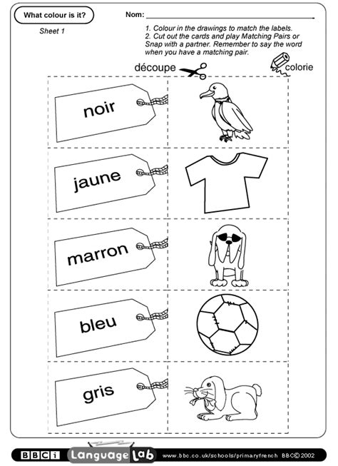 printable worksheets in french primary french printable worksheet