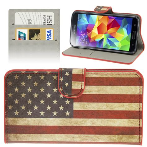 Us Flag Samsung Galaxy S5 retro usa flag pattern leather with credit card slots