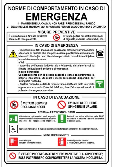 procedure da seguire per la domanda di mobilit 224 aclis cartello norme da seguire in caso di emergenza firest