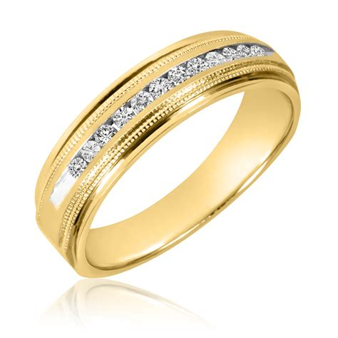 Wedding Gold Band by 1 4 Ct T W S Wedding Band 14k Yellow Gold