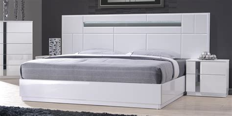 Contemporary White Bedroom Furniture Monte Carlo King Size White Lacquer Chrome 5pc Bedroom Set W Light Ebay