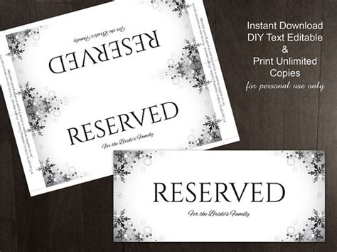 diy printable wedding reserved sign template editable ms