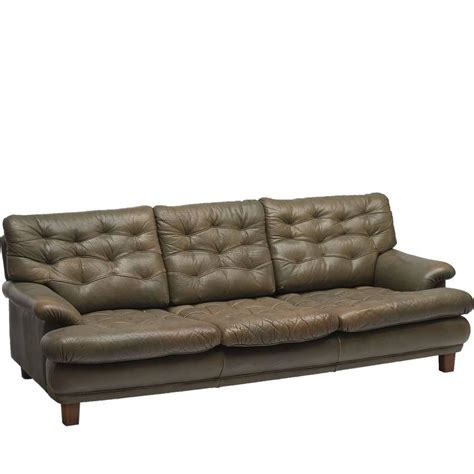 olive green leather sectional sofa arne norell three seat sofa in patinated olive green