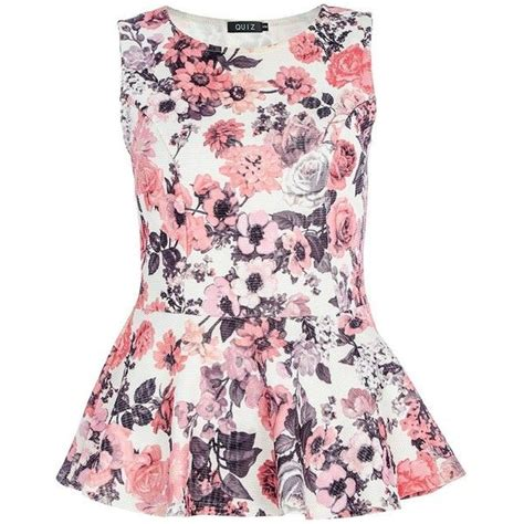 Expand Floral Print Blouse Oranye quiz textured flower print peplum top featuring polyvore