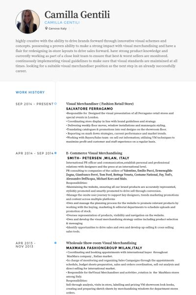 Resume Templates For Visual Merchandiser visual merchandiser resume sles visualcv resume