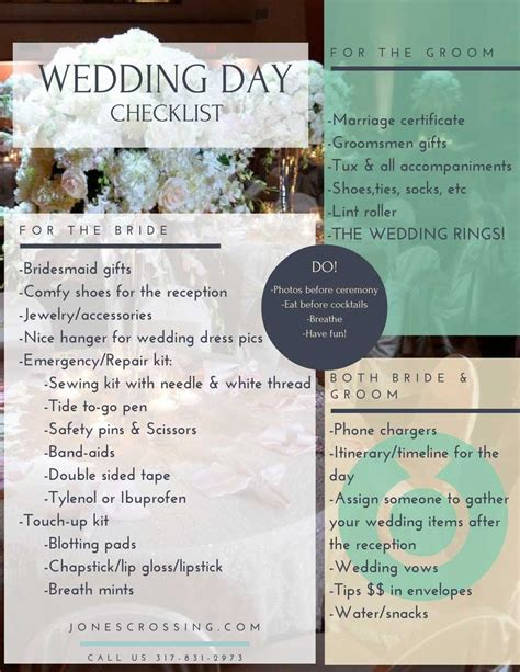 Wedding Checklist For And Groom by Wedding Day Checklist For The And Groom