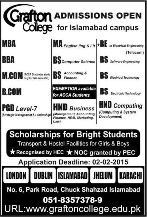 Mba Admission In Islamabad 2017 by Grafton College Admissions In Islamabad Cus 2017