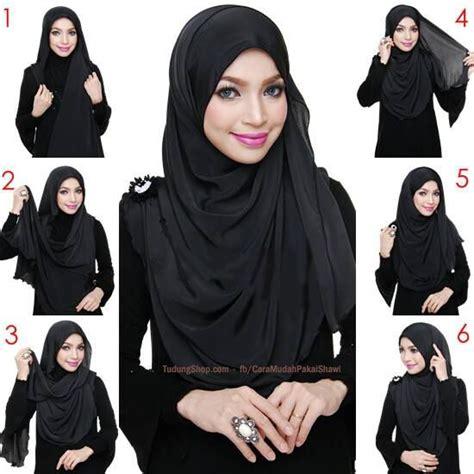 tutorial hijab labuh cara pakai shawl labuh hitam tutup kemas depan belakang di