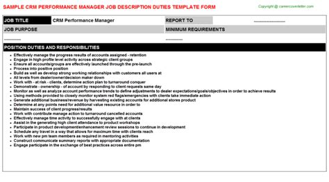 crm performance manager title docs cv14087