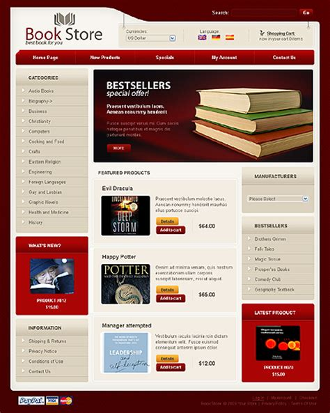 free templates for books websites template 23506 book store oscommerce template