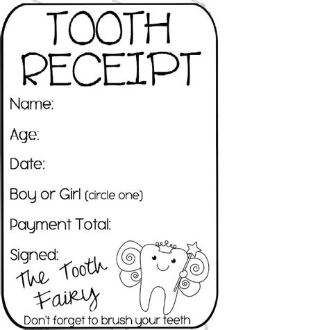 tooth receipt template editable best 25 tooth receipt ideas on tooth