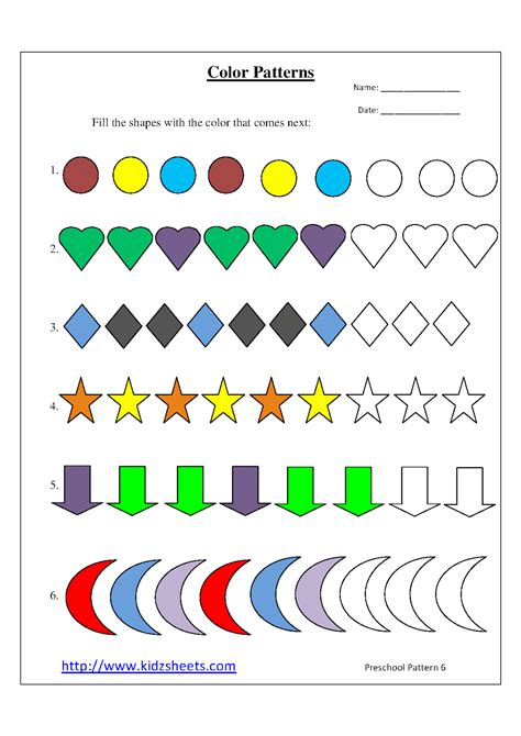 pattern games preschool printable pattern worksheets for kindergarten preschool