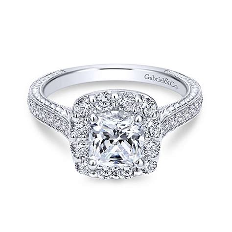 cushion cut halo engagement rings 1000 14k white gold cushion cut halo engagement ring