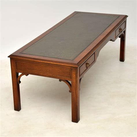 antique leather top coffee table large antique georgian style mahogany leather top coffee