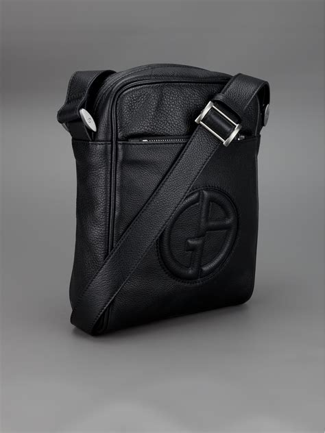 Giorgio Armani Bag Rc001 lyst giorgio armani raised logo messenger bag in black for
