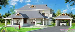 kerala traditional mix home with separate garage kerala