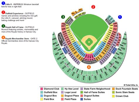 kauffman stadium map ballpark seating charts ballparks of baseball