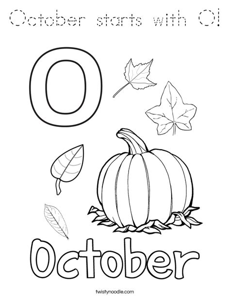 Block O Coloring Page by October Starts With O Coloring Page Tracing Twisty Noodle