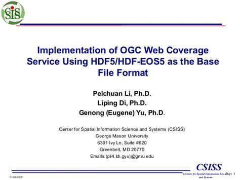 file format hdf5 implementation of ogc web coverage service using hdf5 hdf