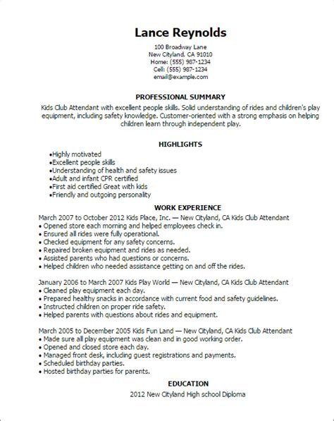 Best Resume Examples For Highschool Students by Professional Kids Club Attendant Templates To Showcase Your Talent Myperfectresume