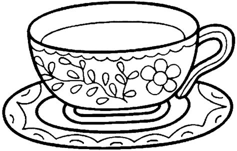 teapots and cups coloring pages