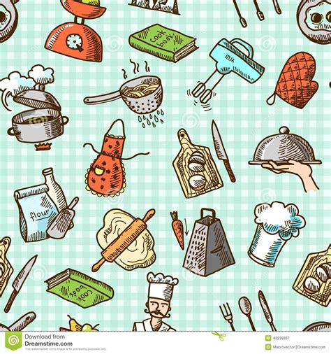 svg pattern processing cooking icons seamless pattern stock vector illustration