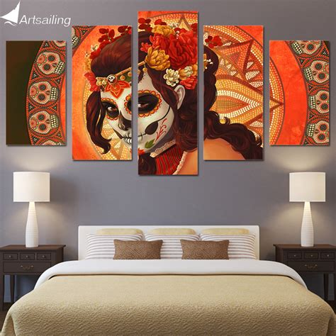 hd printed day of the dead painting room decor