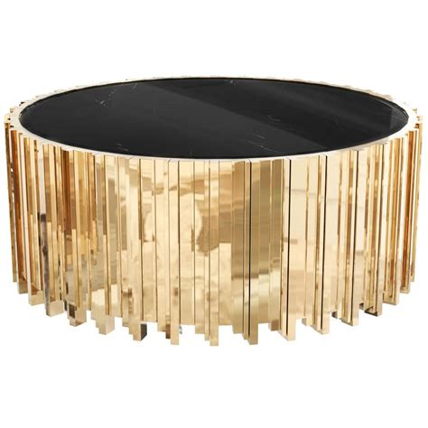 Gold Table L by European Modern Gold Plated Brass And Marble Centre