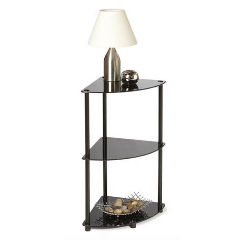 3 Shelf Corner Bookcase Convenience Concepts Classic Glass 3 Tier Corner Shelf In Black 425930