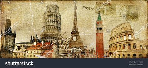 vintage postal card european holidays stock photo