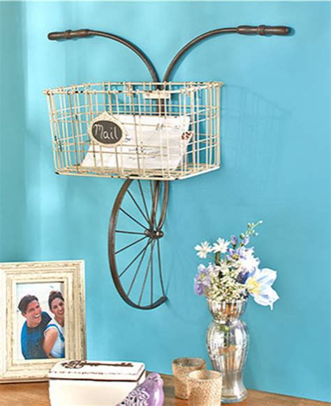 Decorative Sculptures For The Home Wall Decor Metal Bicycle Basket Wall Mounted Indoor Outdoor Unique Storage Ebay