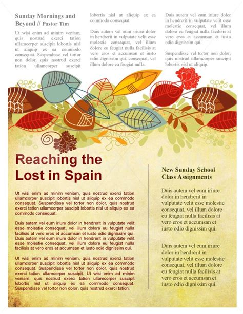 harvest church newsletter template for fall template