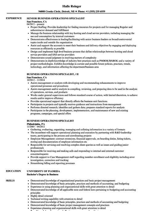 business operations specialist resume sles velvet jobs